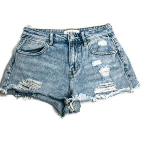 PacSun Destroyed High Rise Short Jean Shorts
